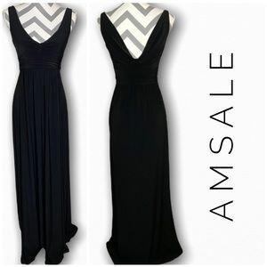 AMSALE long black column dress